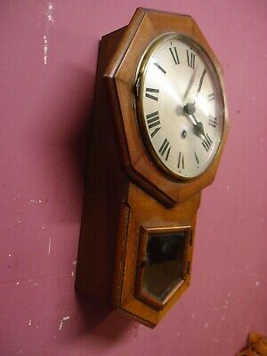 SMALL ANTIQUE 1950's WALNUT CASED DROP DIAL WALL CLOCK PROJECT HAC  WURTTENBERG