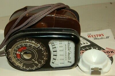 WESTON MASTER 111 LIGHT METER with CASE/STRAP & INVERCONE EXCELLENT CONDITION