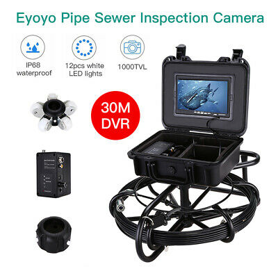 "30M Video Drain Underwater Industrial Pipeline Camera 7"" 1000TVL Waterproof IP68"