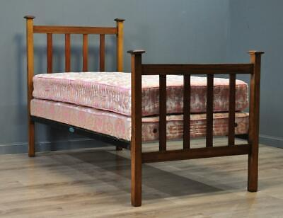 Attractive Antique Edwardian Inlaid Mahogany Single Bed, Divan Base & Mattress