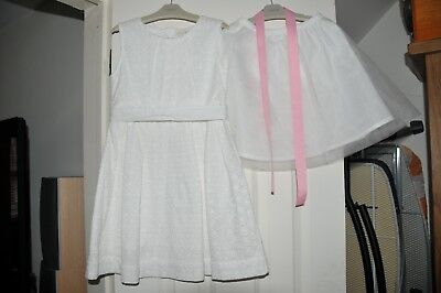 Girls Mini Boden White Broderie Anglaise Dress Size 5-6 Years Bnwot