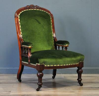 Attractive Antique Victorian Mahogany Green Upholstered Fireside Armchair Chair