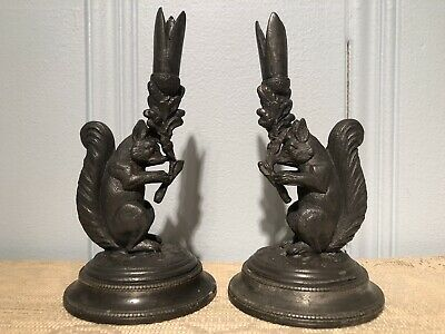 Antique Art Deco W. W. Harrison & Co Sheffield EP Pewter Squirrel Candlesticks