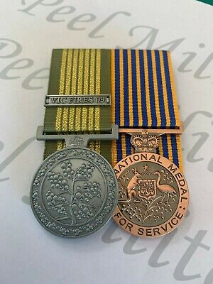 Aust. National Emergency Medal (VIC FIRES 09) Clasp + National Medal Replica Set