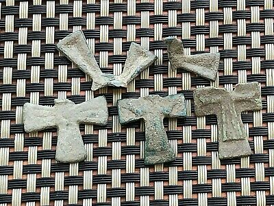 Lot Of 5 Ancient Byzantine Medieval Bronze Crosses 800-1200 Ad / Fragments