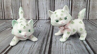 Vintage MZ Irish Dresden Kitten Figurines with Shamrocks and Pink Lace Bows Mark