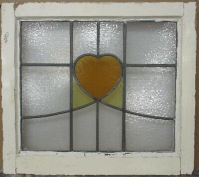 "OLD ENGLISH LEADED STAINED GLASS WINDOW Pretty Heart & Sweep 21.5"" x 19.25"""