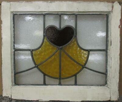 "OLD ENGLISH LEADED STAINED GLASS WINDOW Cute Heart & Sweep 19.25"" x 16.25"""