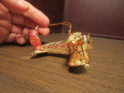 Danbury Mint CHRISTMAS Ornament Airplane 2013 23k Gold Electroplated