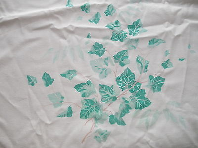 True Vintage Attic Find c1950 Table Linen Cotton Green Ivy Leaf Leave Tablecloth