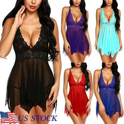 Womens Sexy Lingerie Lace Teddy Babydoll Chemise Sheer Sleepwear Nightdress US