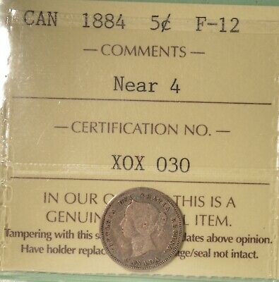 1884 Canada Silver  5 Cent - ICCS F-12  -  Serial # X0X 030
