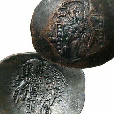 "MARY, Jesus HAND of GOD ""manus Dei""crowns ISAAC II Ancient Byzantine Empire Coin"
