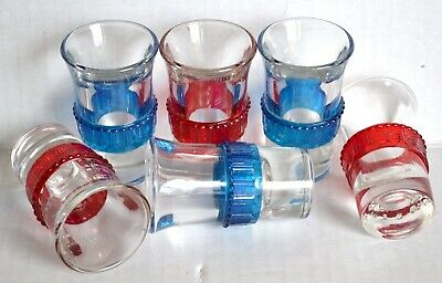 (6) Vintage Art Deco SHOT GLASSES Set Lot w/ Geometric Red Blue Band Rings