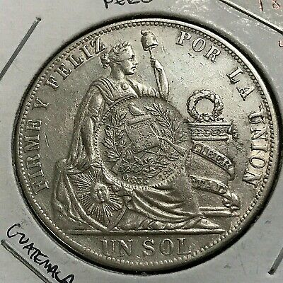 1889 Peru Silver Sol Crown Counter Stamped With 1894 Guatemala 1/2 Real