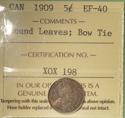 1909 Canada Silver  5 Cent - ICCS EF-40  -  Serial # X0X 198