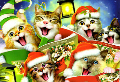 SINGING CATS Christmas Cards #75246 - Leanin' Tree - Box of 10 USA