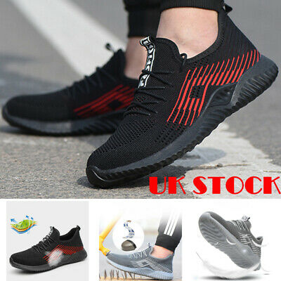 Mens Steel Toe Breathable Safety Shoes Work Boots Sports Hiking Shoes Trainers