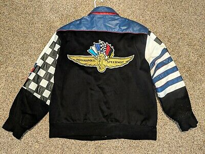 Leather & twill Indianapolis Motor Speedway racing jacket great gift! JH Design