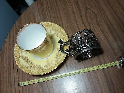 Staffordshire Demitasse Teacup And Saucer - Egg Shell With Sterling Holder