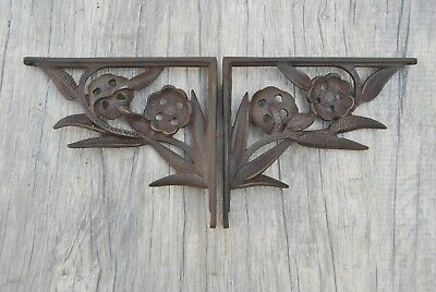 2 vtg victorian cast iron wall shelf eastlake brackets antique style 19.5x16.5cm