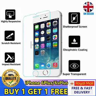 Tempered Glass Screen Protector For Apple iPhone 6Plus 6sPlus - Metal New