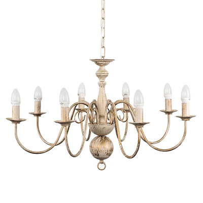 Large Retro Style 8 Way Ceiling Light Chandelier Fitting in a Distressed Effect