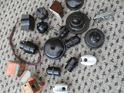 Assorted antique Bakelite electric fittings inc dolly switch