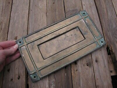 Old Large Brass Letter Box Plate Door Mail Slot Mail box