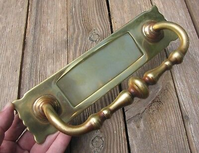Antique Brass Letter Box Plate with Door Pull Handle / Mail Slot / Mailbox