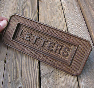 Old Cast Iron Letter Box Plate Door Mail Slot Mailbox WORKING SPRING
