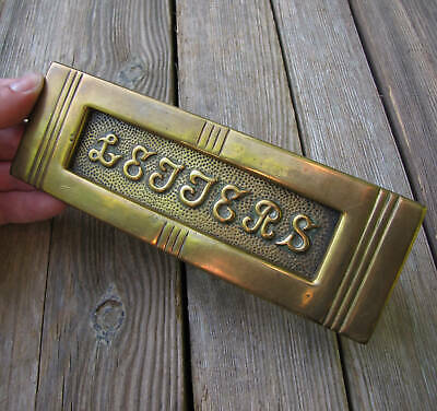 Original Antique Brass Letter Box Plate / Door Mail Slot Mailbox