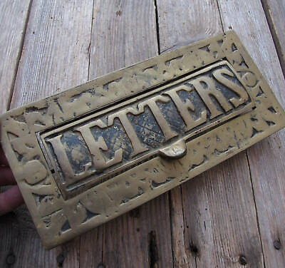 Old Heavy Solid Brass Letter Box Plate / Door Knocker Mailbox Mail Slot