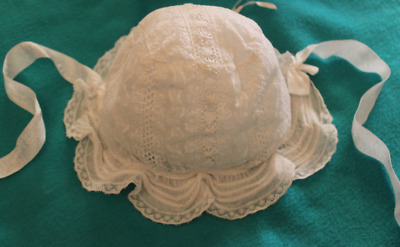 Superb 19Thc. Christening Lace Bonnet With Elaborate White Work.