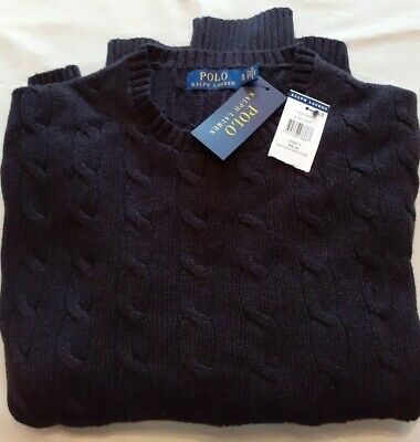 Ralph Lauren Polo Men's Cable Knit Crew Neck Cotton Jumper Granite Xl