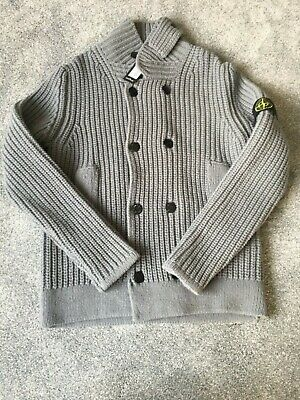 Stone Island Knitted Jumper With Branded Buttons High Neck Grey Size Large