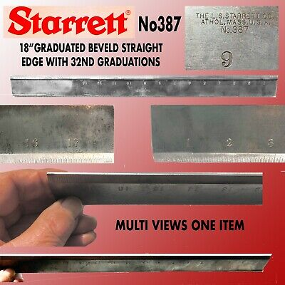 """Starret #387 18"""" Graduated Beveled Straight Edge With 32Nd Graduations"""