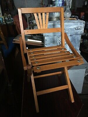 Rare Child's Chair 1930'S Antique Wooden Folding Arts & Crafts