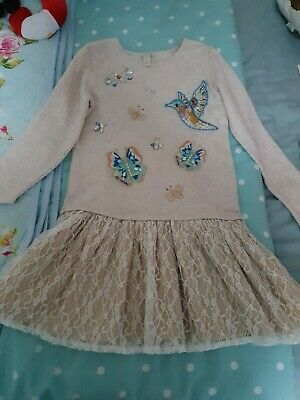 Girls Monsoon swan print dress 9-10 years worn once great condition