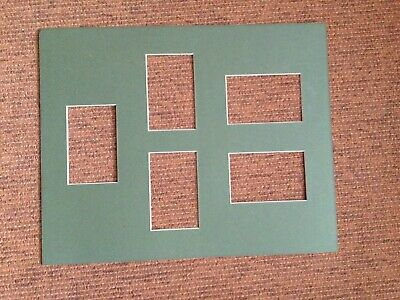 Large khaki green 51x41cm Picture Mount to fit six 13.5x8.5cm pictures