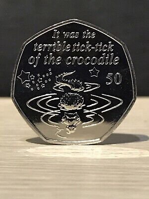 2019 Crocodile Uncirculated 50p coin,from Peter Pan Collection IOM tick tick