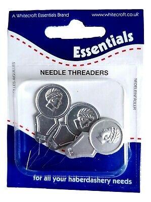 Pack Of 3 Whitecroft Bow Wire Needle Threaders For Hand Or Sewing Machine