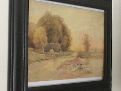 antique small Watercolor Landscape Painting C.1840 - signed