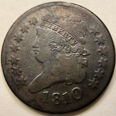 Scarce old 1810 Early Copper Classic Head US United States 1/2 Half Cent Coin