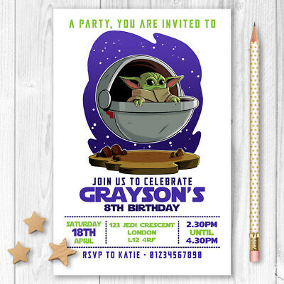 Personalised Baby Yoda Invitations Party Birthday Invites Star Wars Pack of 10