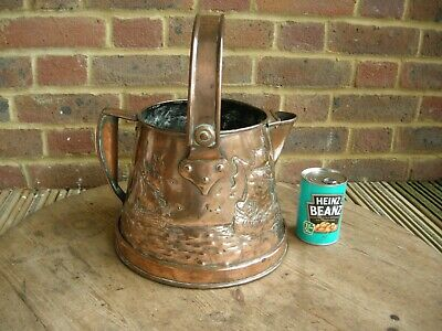 Huge Superb 1900 Art Nouveau Arts & Crafts Newlyn Copper Jug Planter Ship Design