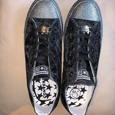 CONVERSE MC Miley Cyrus All Star Black Velvet and Glitter Trainers UK Size 7