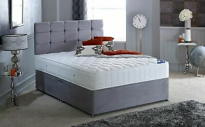 GREY SUEDE DIVAN BED BASE, Single 3ft, Double 4ft, King Size 5ft, ALL SIZES