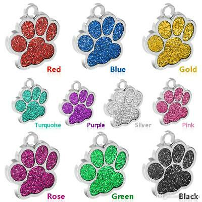 Personalised Engraved Glitter Paw Tag Dog Cat Pet ID Tags Reflective for collar