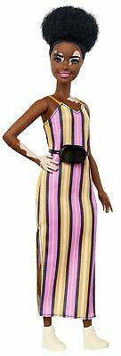 Barbie Fashionistas Doll with Vitiligo and Curly Brunette Hair Wearing Stripe...